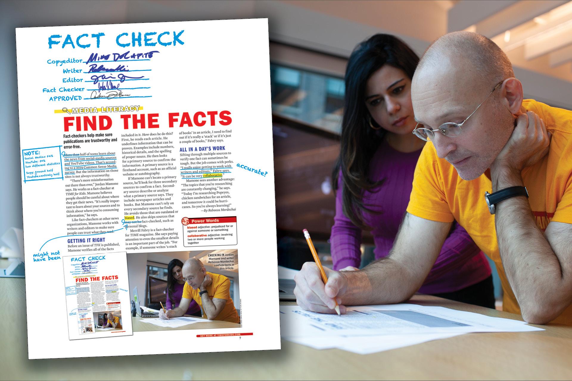 a magazine fact-checker reading a magazine article